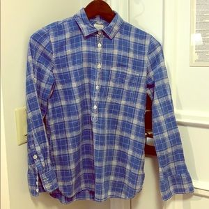 J. Crew Plaid Chambray Shirt